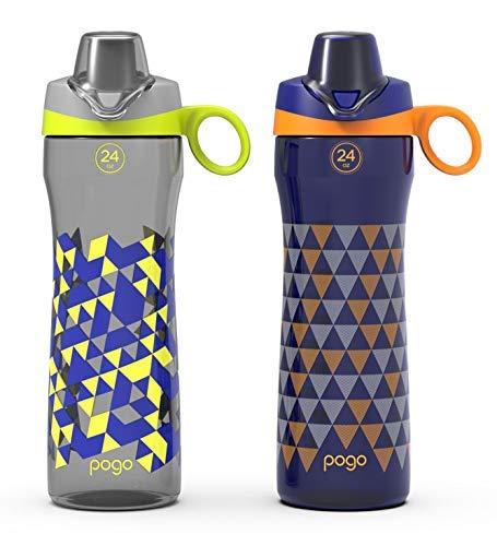 Pogo BPA-Free Tritan Water Bottle with Chug Lid (2 Pack), Grey/Midnight Navy, 24 oz