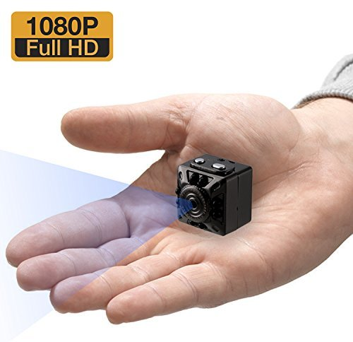 Mini Hidden Camera - Spy Camera - 1080P Small HD Secret Camera - Nanny Cam - with Night Vision and Motion Detection - Indoor Covert Security Camera - Home and Office - Matte Black Metallic Case