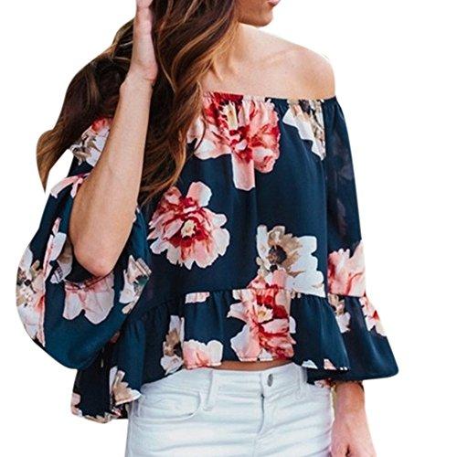 Xturfuo Womens Off The Shoulder Top Summer Bohemian Flowy Printing Shirt(S-3XL)