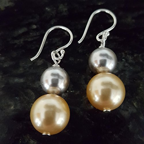 (Gold and Silver South Sea Pearl Earrings 8 and 10 mm simulated Swarovski pearls on Sterling Silver Earwires Made in the USA)