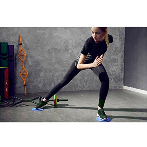 RUNACC Core Gliding Discs Lisses curseurs d'exercices avec couvre-pieds antidérapants et 5 bandes de résistance, une paire, bleu
