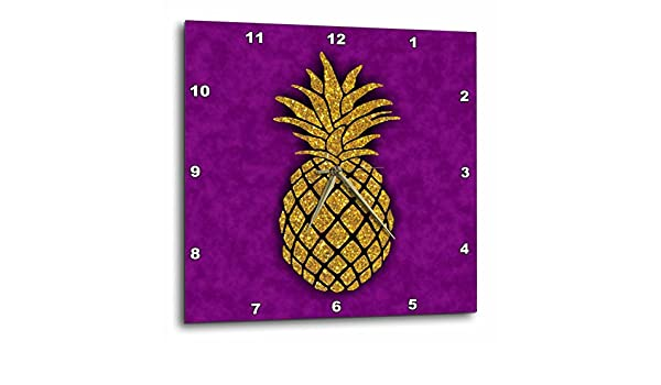 DPP/_220279/_1 3dRose Photo of Gold Pineapple on Purple Background-not Real Glitter-Wall Clock 10-inch
