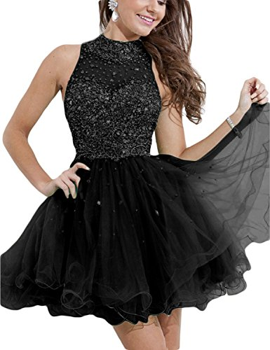 Beaded Empire Halter - Sexy Short Homecoming Dresses 2018 Knee Length Mini Skirts Keyhole Prom Gowns Formal Celebrity Empire Waist Dense Manual Beaded Black Size 4