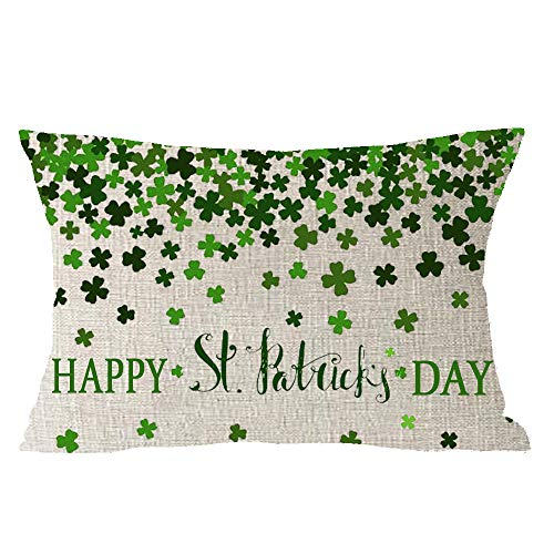 Cotton Irish Throw (Happy St. Patrick Day Green Lucky Grass Clover Blessing Irish National Day Gift Cotton Linen Square Throw Waist Pillow Case Decorative Cushion Cover Pillowcase Sofa Lumbar 12x20 inches)