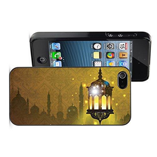 Apple iPhone 6 6s Hard Back Case Cover Arabic Lantern Lamp with Shiny Night Ramadan (Black)