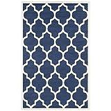 outdoor indoor rug - Safavieh Amherst Collection AMT420P Navy and Beige Indoor/ Outdoor Area Rug (4' x 6')