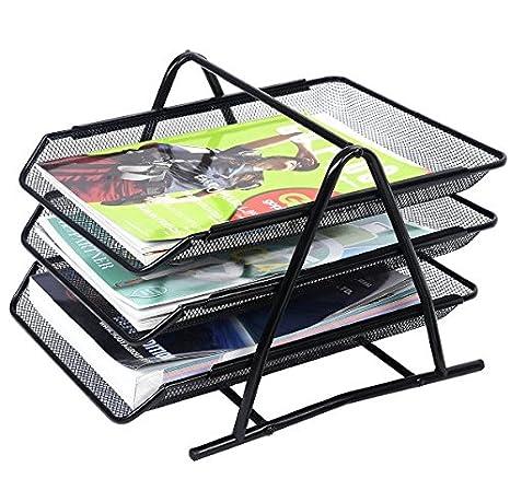 Malla de alambre Office A4 documento de almacenamiento de papel Negro Carta Bandejas de presentación soporte 3 niveles GN empresas: Amazon.es: Oficina y ...