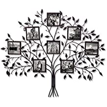 "Adeco PF0566 Family Tree Black Metal Wall Hanging Decorative Collage Picture Photo Frame, 8 Openings, 4x4"" Each, Black with Antique Finish"