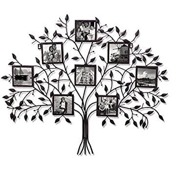 family tree wall hanging pattern crafts adeco pf0566 family tree black metal wall hanging decorative collage picture photo frame openings amazoncom