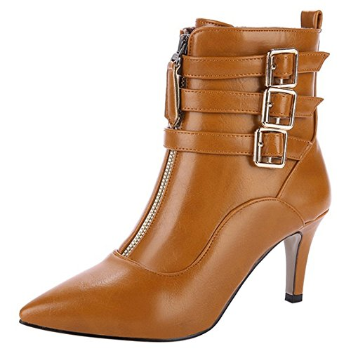 Toe COOLCEPT Ankle Belt Stiletto Boots Fashion Pointed Brown Women Zip 0qfxqSwAR