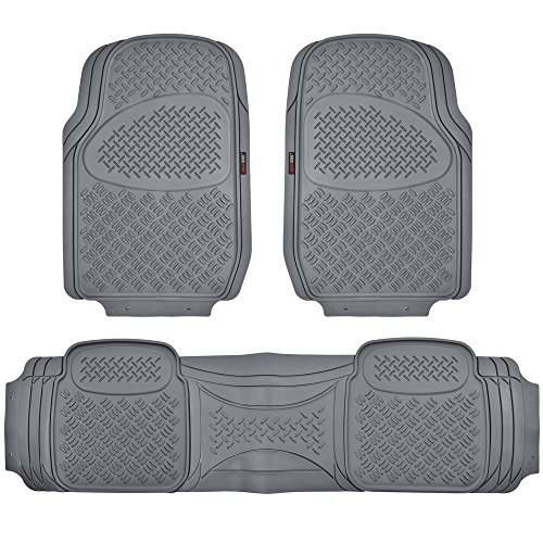 Motor Trend HD FlexTough Rubber Floor Mats for Car Truck SUV & Van - 100% Odorless & Super Heavy Duty (Gray) - MT813GRAMw1 (2006 Toyota Highlander Floor Mats All Weather)