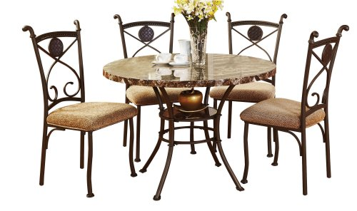 ACME 70555 Kleef 5-Piece Dining Set, Faux Marble Top