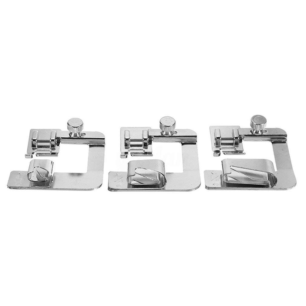 3Pcs Wide Rolled Hem Hemmer Foot For Domestic Sewing Machines Snap On Presser Aszune