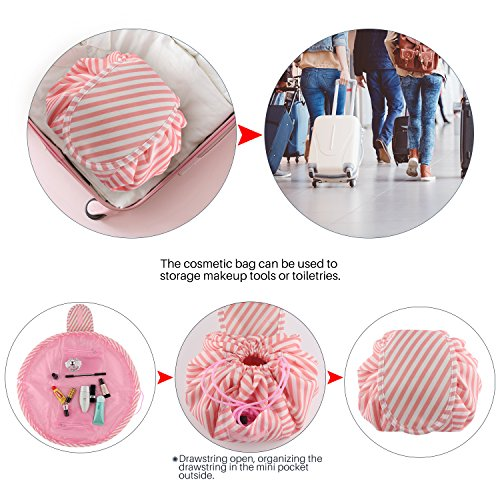 Lazy Portable Makeup Bag Large Capacity Waterproof Travel Cosmetic Bag Quick Easy Pack Round Travel Toiletry Bag Perfect for Storage Pretty Fashion Pattern Drawstring Bag (Pink stripe) by Edapter (Image #5)