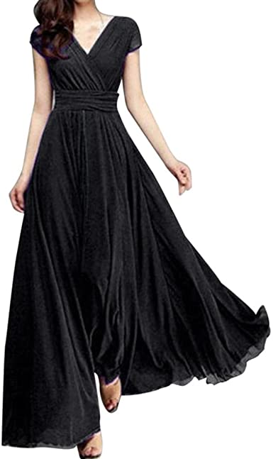 Women/'s Chiffon Cap Sleeves V-neck High Waist Long Maxi Dress Sumdress
