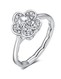 Han han 925 Sterling Silver,Dancing Diamond CZ Rings,Beautiful Flower Rings,18K White Gold Plated Flower Ring (Size 6 7 8)