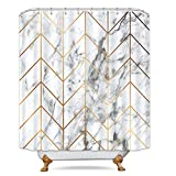 white marble bathroom  Geometric Marble Shower Curtain Golden Chevron Stripe Black and White Bathroom Decor Fabric Set Polyester Waterproof 72x72 Inch 12-Pack Plastic Hooks