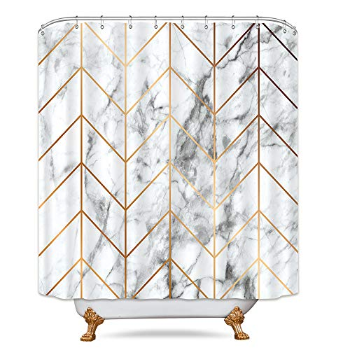 Riyidecor Geometric Marble Shower Curtain Golden Chevron Stripe Black and White Bathroom Decor Fabric Set Polyester Waterproof 72x72 Inch 12 Pack Plastic Hooks