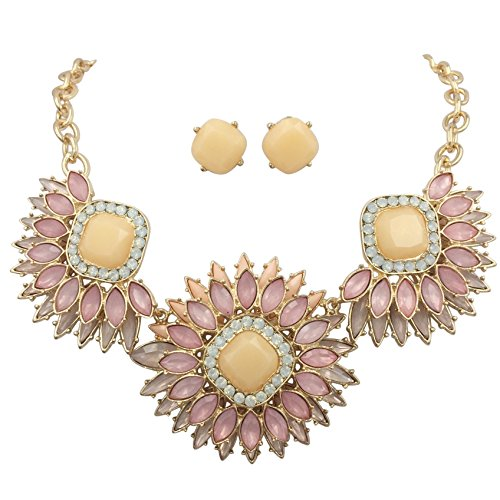 Gypsy Jewels Large Abstract Bib Statement Boutique Necklace & Earrings Set -Assorted Colors (Pink Peach Triple Burst) ()