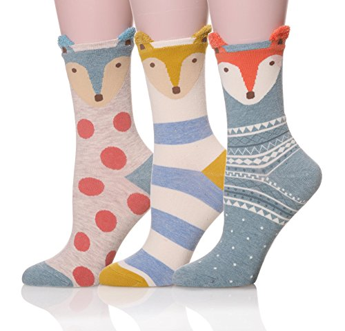ProEtrade-Women-Soft-Cute-Animal-Pattern-Casual-Cartoon-Socks-3-Pairs