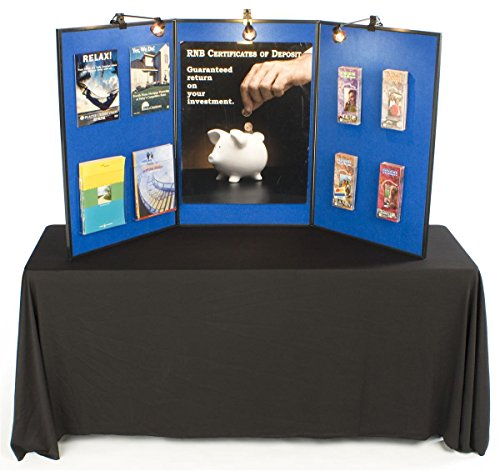 3 Panel Presentation Board, 72 x 36, Double-Sided, Blue Hook & Loop-Receptive Fabric and White Dry Erase Write-on Board, Includes 3 Halogen Lights by Displays2go