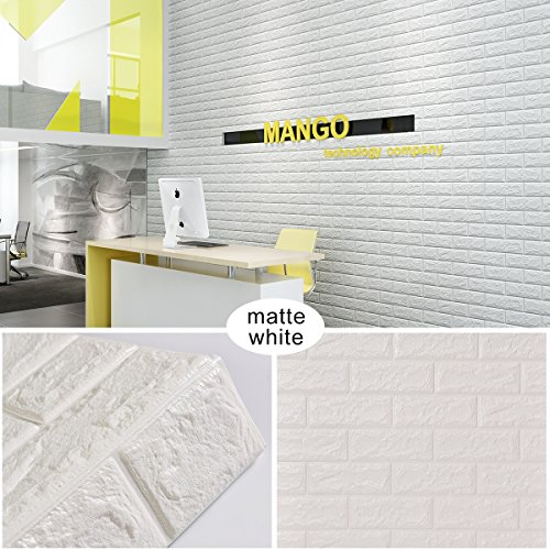 Goetland 5.9 Sq Ft 3D Brick Wall Panels Stickers PE Foam Self Adhesive Wallpaper Removable Wall Decoration, Pack of 10, White (Panel Removable)