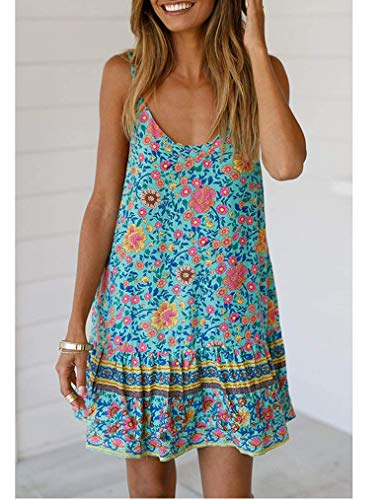 Summer Swing Dresses for Women, Ethnic Floral Print Sundress Straps Scoop Neck Short Chiffon Dresses with Pocket Green M