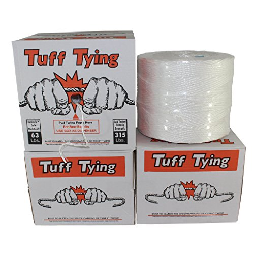 Polypropylene Twine - Polypropylene Twine (2 ply - 4200 feet) Tuff Tying Polypro Twine Industrial-Grade - SGT KNOTS - UV, Moisture, Chemical Protection - Commercial Bundling & Packaging - Center-Pull Box Dispenser (White)