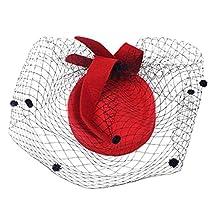 MagiDeal Elegant Stewardess Cap Wedding Party Hair Clip Face Birdcage Veil Net Fascinator Hair Decor Accessory - Red