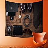 Wall Hanging 4000D Printing Tapestrywood texture men s everyday objects on a dark background business Wall Tapestry for Dorm Living Room Bedroom/27.5W x 27.5L INCH