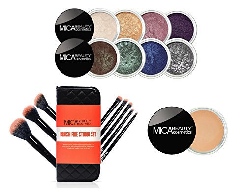 MICA Beauty Eye Makeup Kit: ''Enchanted Dreams'' 8 Shimmer Eye Shadows + Brush Fire Studio Set Blazing Peach + Eye Primer by MicaBeauty