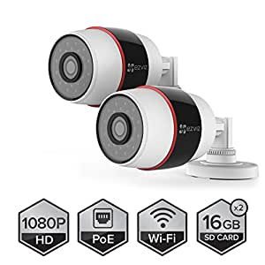 EZVIZ Husky HD 1080p Outdoor PoE & Wi-Fi Video Security Cameras, Works with Alexa, 2 x 16GB Micro SD - Two Pack (WiFi Connectivity - 2.4Ghz Only)