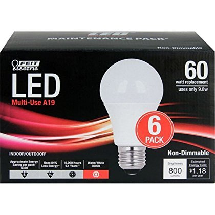 feit electric 60 watt replacement a19 led light bulbs 6 pack color led bulbs. Black Bedroom Furniture Sets. Home Design Ideas