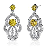 Sterling Silver Rhodium Nickel Finish Dangle Post Earrings with Summer Yellow CZ