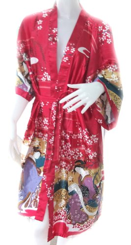 NICE BATHROBE JAPANESE LADY KIMONO WOMEN'S SATIN SILK ROBE-ONE (Japanese Lady Kimono)