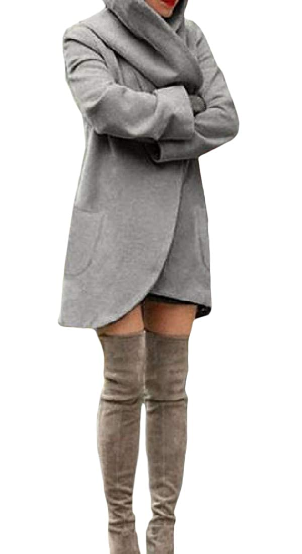 Agana Women's Outwear Simple Slim Hooded Solid Color Irregular-Hem Peacoats