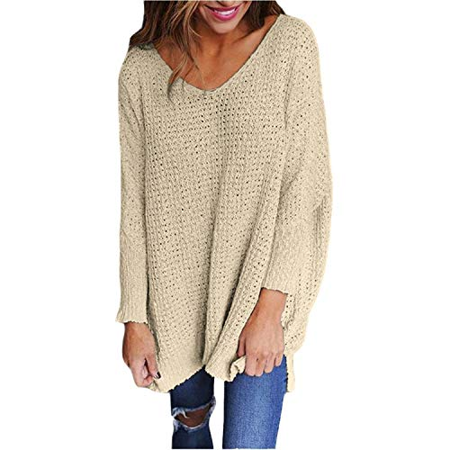 Breathable Fashion Women's Long Sleeve Knitted Sweater Top Jumper Pullovers,Large,Apricot