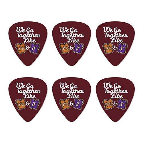 Peanut Butter and Jelly Together PB&J Best Friends Novelty Guitar Picks Medium Gauge - Set of 6 - Butter Pick