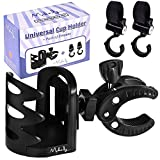 Adjustable Stroller Cup Holder – B0NUS 2 Baby Stroller Hooks for Extra Storage - Water Bottle Holder for Bike, Motorcycle, ATV, Wheelchair or Boat – No Screws Universal Accessories – Great GlFT