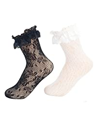 Ziye Shop 2 Pairs Retro Floral Women Girls Lace Ruffle Frilly Ankle Hollow Socks