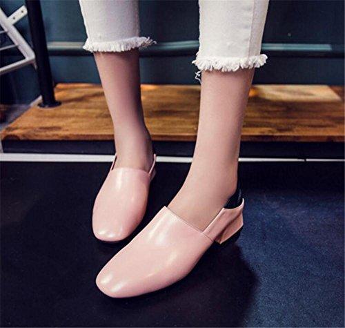 38 à sur Pompe véritable pink Talon Chaussures Taille Glisser femmes Flâneurs Cuir Bloc 35 pour wnO1BZ