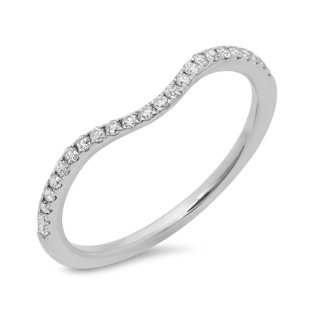 0.19 Carat (ctw) 14K White Gold Round White Diamond Ladies Wedding Contour Guard Band (Size 7)