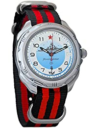 Vostok Komandirskie Maritime Force Mechanical Mens Military Wrist Watch #211879 (black+red)