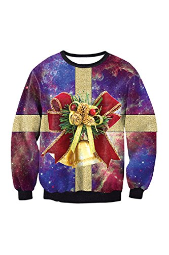 Lacostew Unsiex Ugly Christmas Pullover Sweater Crewneck X-Mas Sweatshirts Purple XL
