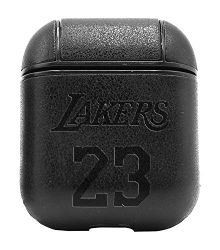 NBA LAK Lakers 23 Logo (Vintage Black) Air Pods Protective Leather Case Cover - a New Class of Luxury to Your AirPods - Premium PU Leather and Handmade exquisitely by Master Craftsmen ()