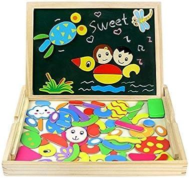 Fajiabao Puzzle Magnetico Legno Lavagnetta Magnetica Giochi di Legno Doppio Lato Puzzle Montessori Giochi Educativi Costruzioni Legno Lavagna