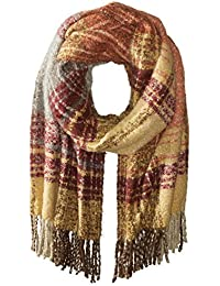 Women's Oversized Plaid Scarf with Fringe