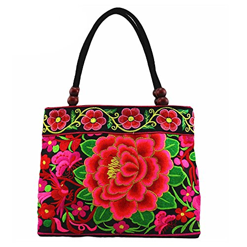 VINTAGE EMBROIDERY V.E. National Boho Women Totes Handbag Mandala Flower Embroidered Shoulder Bag (Butterfly)