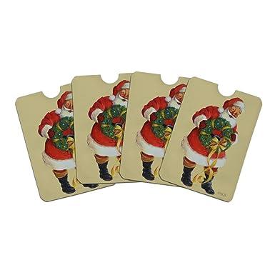 e26fc3ee6545 Christmas Holiday Santa Holding Wreath Credit Card RFID Blocker ...