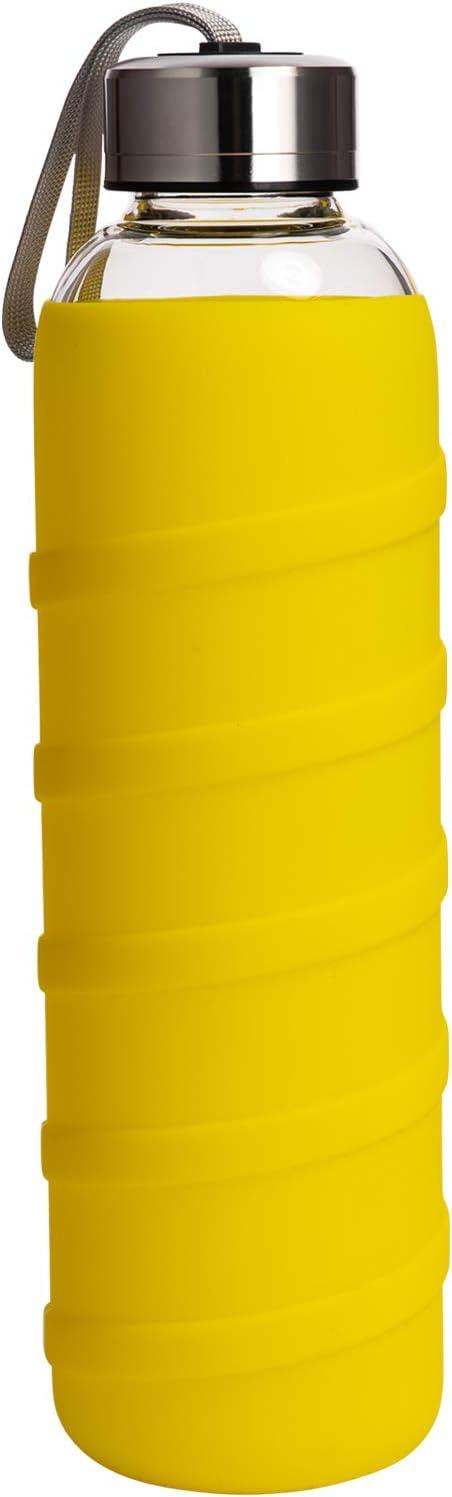 Ferexer Botella de Agua de Cristal Borosilicato con Funda de Silicona Sin BPA 480 ml / 1000 ml